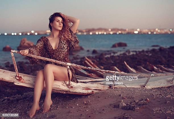 woman feeling seductive on the beach