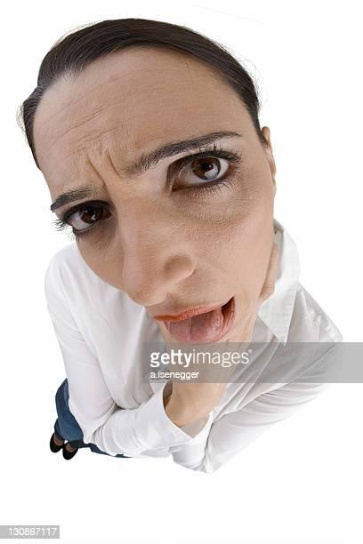 A woman feels bad. Made with fisheye lens.