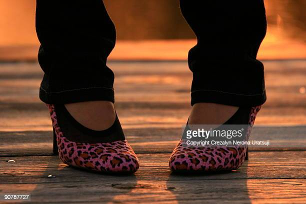 woman feet wearing new shoes - 裾 ストックフォトと画像
