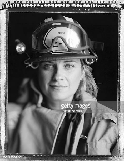 Woman firefighter, portrait (B&W)