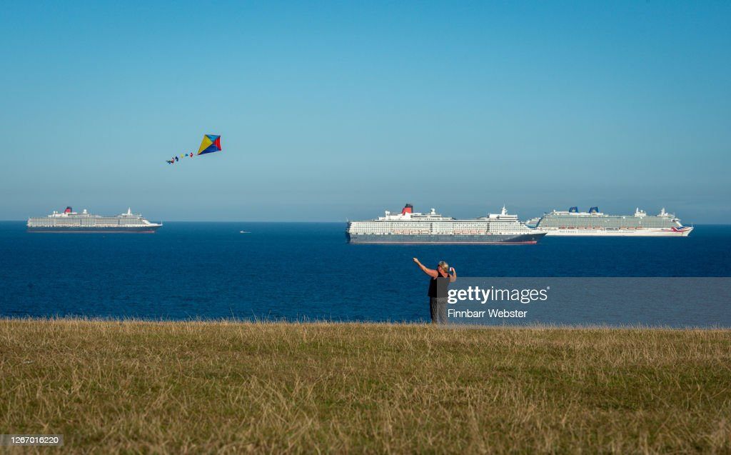 Cruise Ships Empty Due To The Coronavirus Pandemic Moor Off The South West UK Coast : News Photo