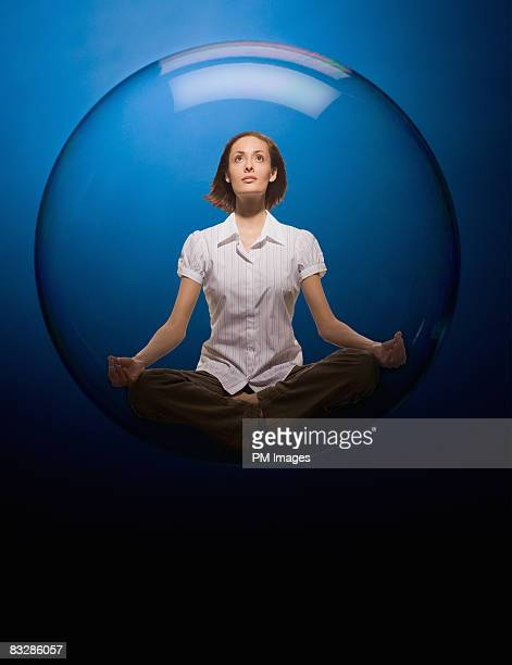 woman floating in bubble - people inside bubbles stock pictures, royalty-free photos & images