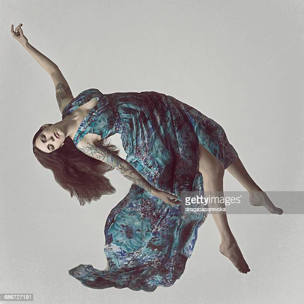 Woman floating in mid air
