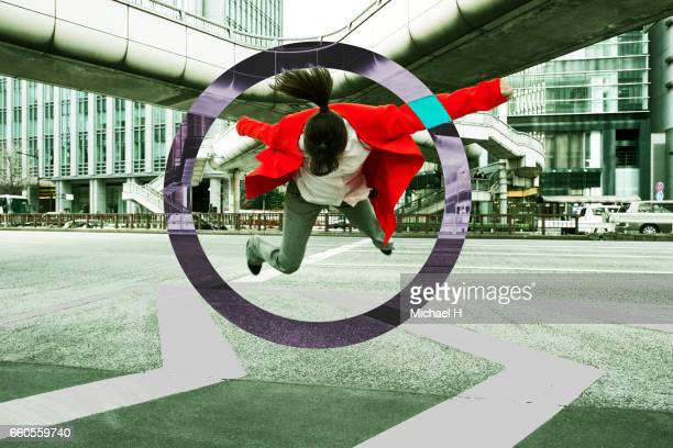 woman floating in the city - elevated walkway stock pictures, royalty-free photos & images