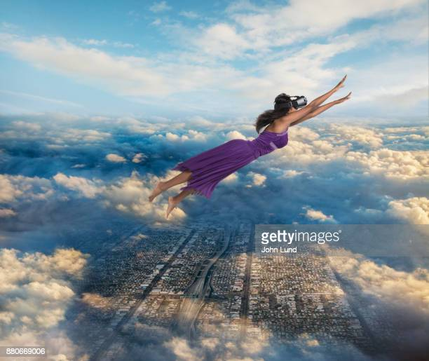 Woman Flying Free With Virtual Reality