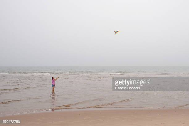 """woman flying kite at beach while standing in water - """"danielle donders"""" stock pictures, royalty-free photos & images"""