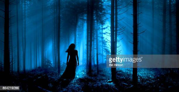 woman forest blue - mystic goddess stock photos and pictures