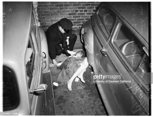 Woman found murdered in Case parking lot at 11th Street and Broadway 21 March 1952 Mrs Esther Huber Officer Jack BurkeWilliam Diamond Sergeant Lloyd...