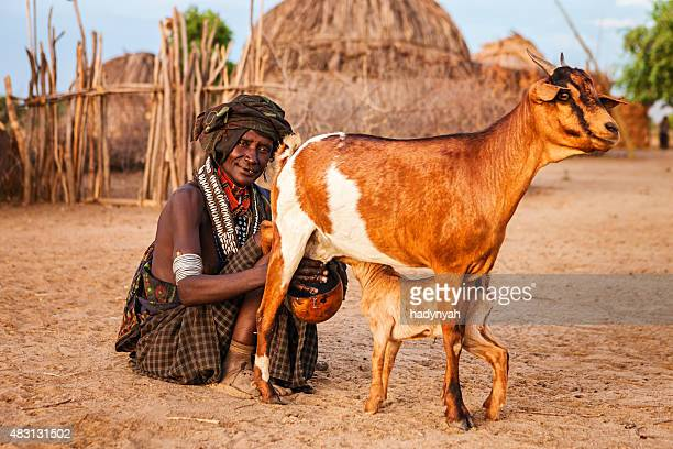 Woman from Erbore tribe milking goat, Ethiopia, Africa