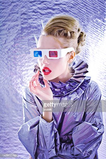 woman from future - metallic dress stock pictures, royalty-free photos & images