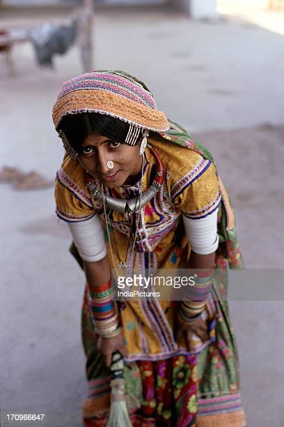 Woman from Harijan society Banni village Kutch Gujarat India