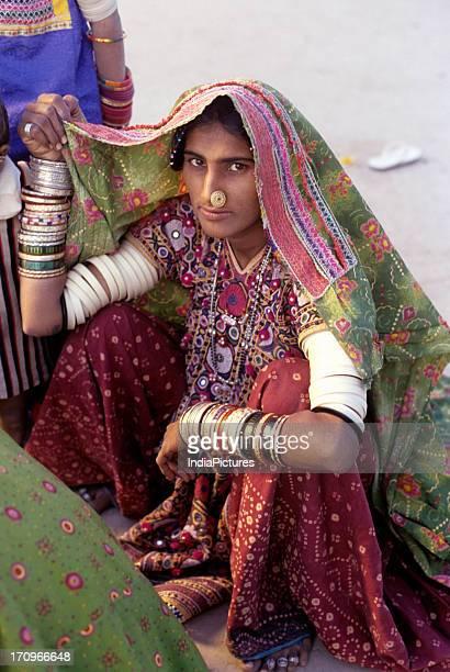 Woman from Harijan society Banni village Kutch Gujarat India