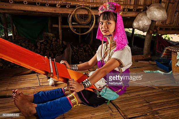woman from long neck karen tribe weaving - chiang mai province stock photos and pictures