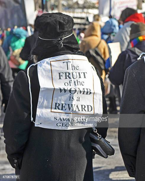 Woman from Savannah, Ga., quietly voices her support for the unborn during the annual Rally for Life, Jan. 22 on the National Mall, in Washington....