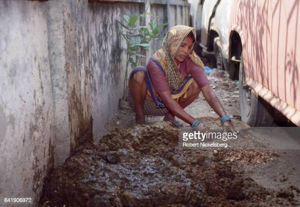 Woman from the Chamar caste makes cow manure patties used for cooking fuel October 28, 1991 in Patna, India. Chamars belong to the Dalit caste group...