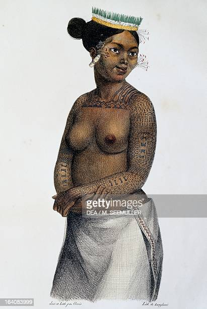 Woman from the Saltikoff islands, Marshall Islands, illustration from Picturesque voyages around the world, by Louis Choris from the expedition of...
