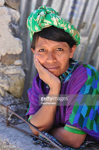 woman from the shores of lake atitlan in guatemala - latin american civilizations stock photos and pictures