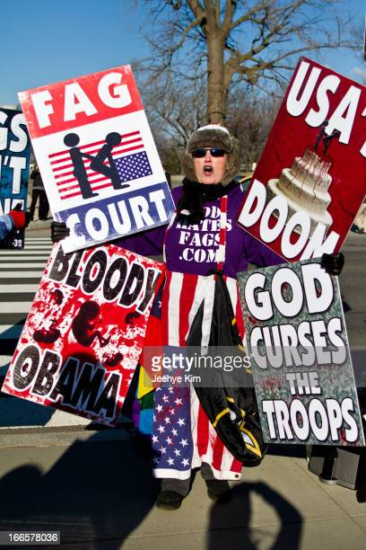 Woman from Westboro Baptist Church rallies against gay marriage at the Supreme Court.