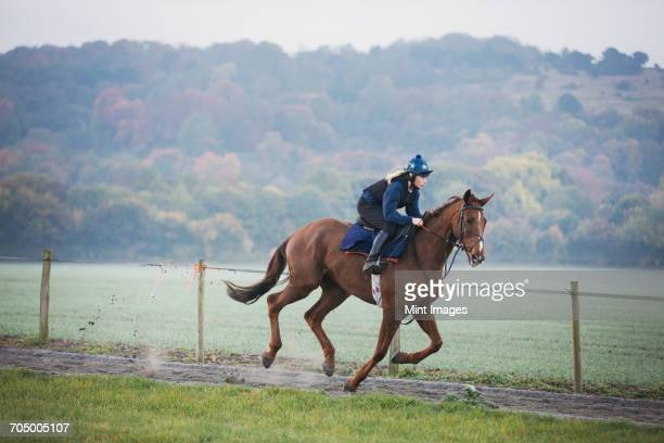 Woman galloping on a racehorse along a path by a railing.