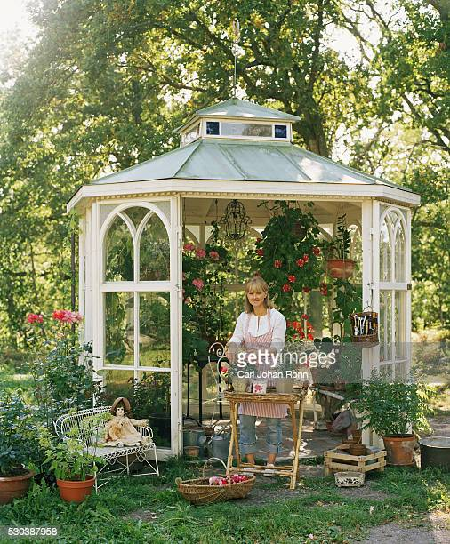 woman gardening in gazebo - pavilion stock pictures, royalty-free photos & images