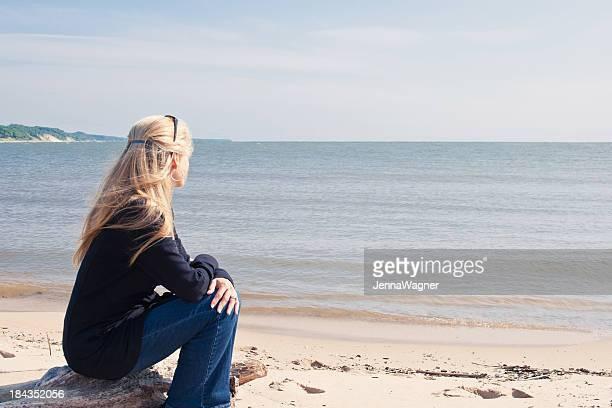 Woman Gazing at Ocean