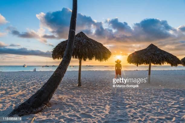 woman gazing at the sunrise on a tropical beach, dominican republic - punta cana fotografías e imágenes de stock
