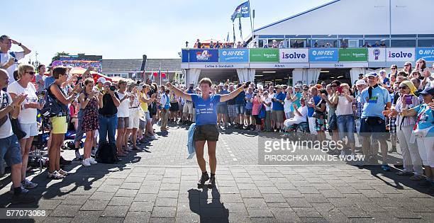 OUT*** A woman gestures during a special lap of honor prior to the 100th edition of the annual Four Day March of Nijmegen on July 18 2016 in Nijmegen...