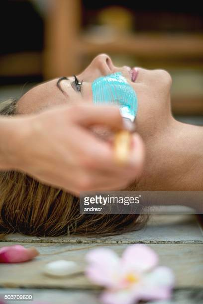 Woman getting a beauty treatment at the spa