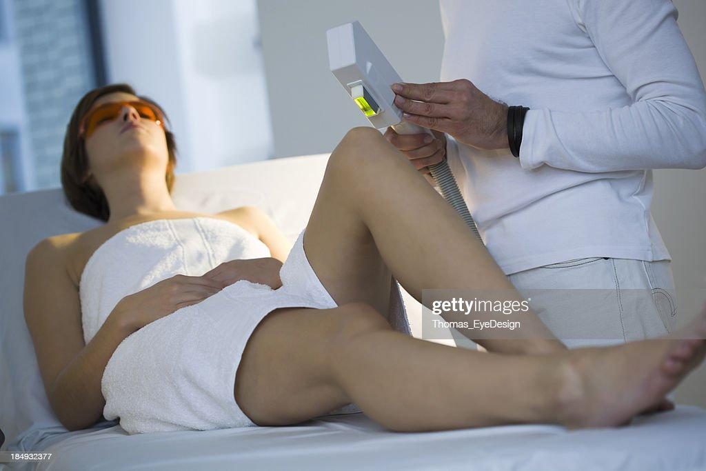 Woman Getting  Electrolysis Treatment : Stock Photo