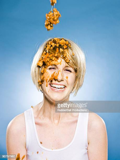 woman getting food dumped on her head