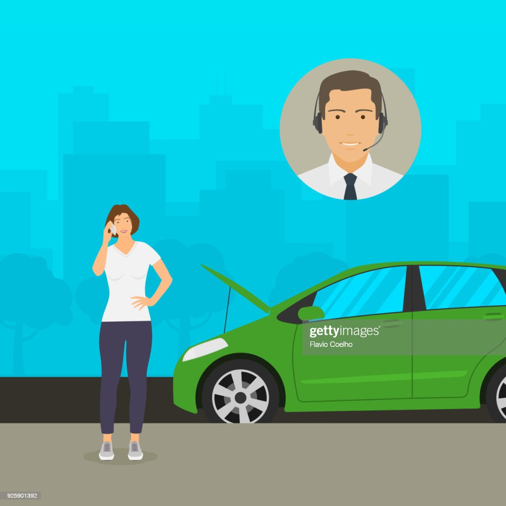 Woman getting help from insurance clerk on the phone about her broken down car illustration : Stock Photo