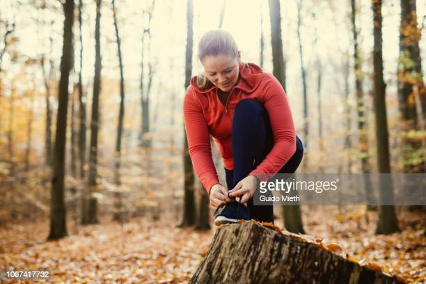 Woman getting ready for jogging.