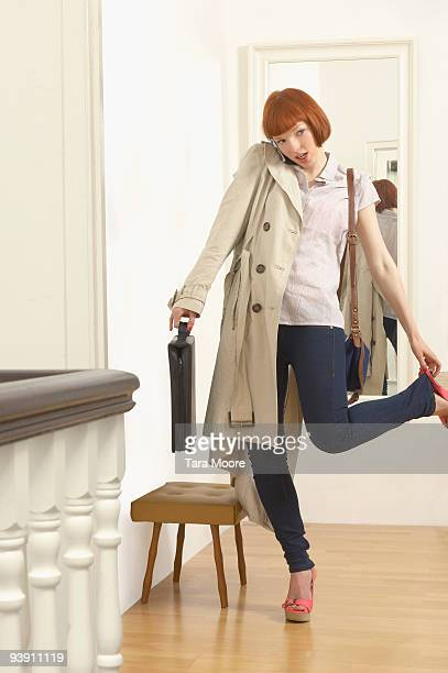 woman getting ready for work - beat the clock stock photos and pictures