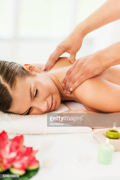 Woman getting spa treatment.