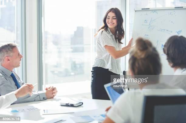 Frau hält einen Vortrag zu ihrem Team.