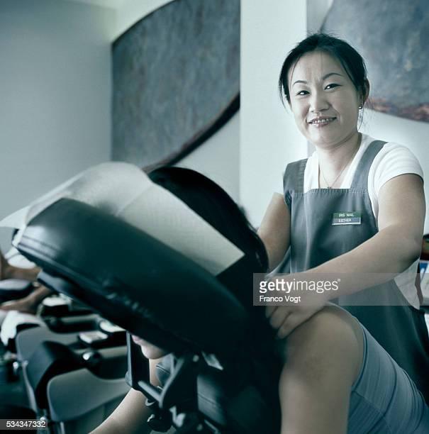 Woman Giving Massage at Beauty Shop