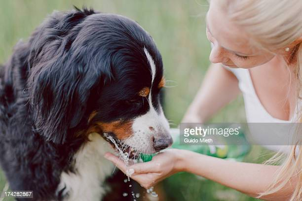 Woman giving water to her dog