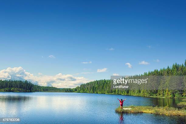 woman greeting a summer day - sweden stock pictures, royalty-free photos & images