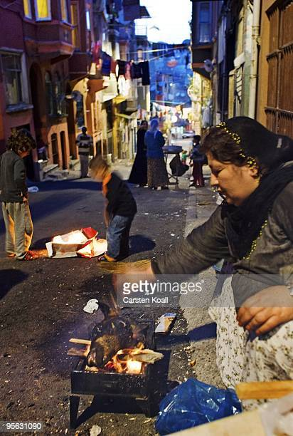 Woman grilling on an open fire the head of a sheep in front of their house in the district Tarlabasi on May 16, 2006 in Istanbul, Turkey. Tarlabasõ...