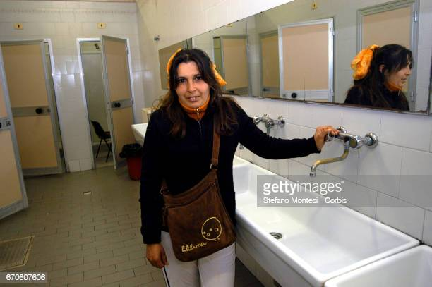 A woman guest of the hostel Caritas of Street Marsala on November 6 2007 in Rome Italy