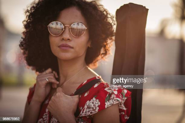 woman guitar player - pop musician stock photos and pictures