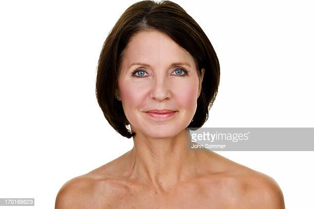 woman half edited - pretty older women stock pictures, royalty-free photos & images