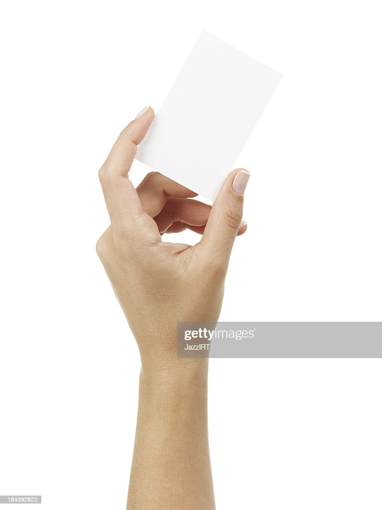 Woman Hand Holding An Empty Business Card Stock Photo | Getty Images