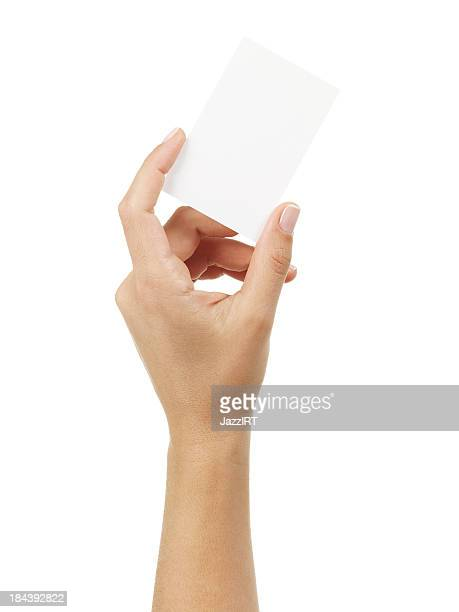 Woman Hand holding an empty business card