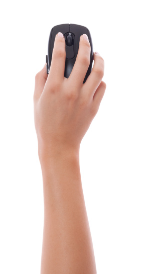 Woman hand holding black pc mouse isolated 168346124