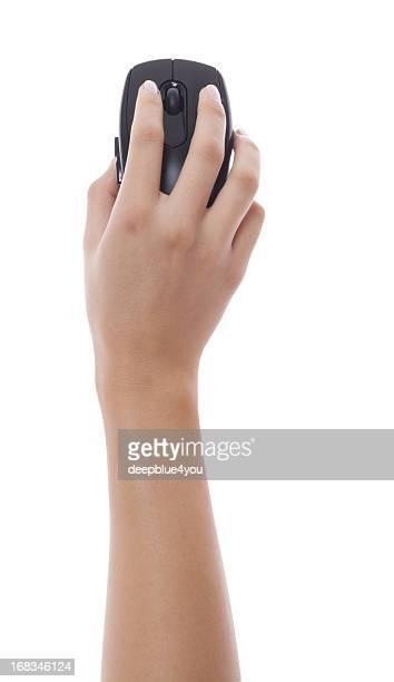 Frau hand holding Schwarz Computer-Maus Isoliert