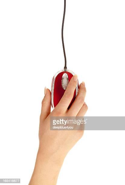 Femme Main tenant rouge pc mause sur blanc