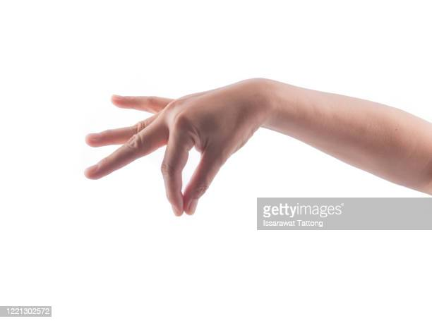 woman hand holding some like a blank card isolated on a white background. - menschlicher finger stock-fotos und bilder