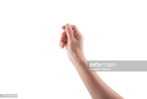 woman hand holding some like a blank card isolated on a white background - halten stock-fotos und bilder