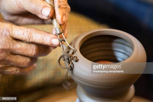 Woman hand made pottery